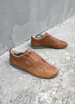 Брендовые мужские кожаные туфли кроссовки lacoste оригинал