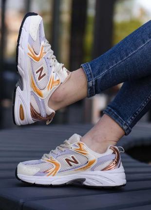 New balance 530🆕легкие дышащие белые/золотистые женские кроссовки нью баланс 530