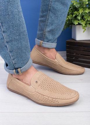 🌿 мужские бежевые туфли эко-кожа