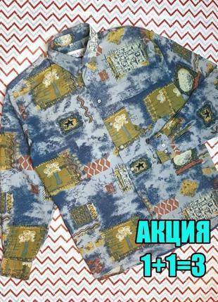 😉1+1=3 оригинальная мужская рубашка в принт camargue, размер 48 - 50