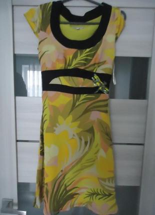 Фирменное шелковое платье с бантом, 100% шелк