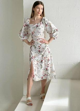 Платье миди в цветочек цветочный принт цветок с разрезом открытые плечи