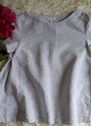 Необычная футболка от cos бело-серый меланж хлопок лён-xs-34р