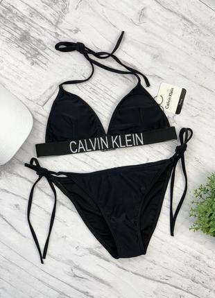 Купальник  calvin klein, черный купальник на завясках