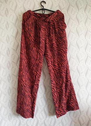 Zaggora uk натуральні літні широкі штани принт зебра з поясом та кишенями