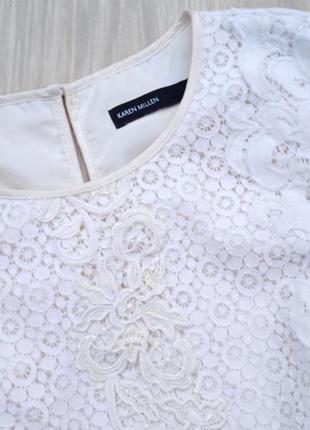 """Eu38 """"karen millen"""" кружевная хлопковая майка блуза3 фото"""