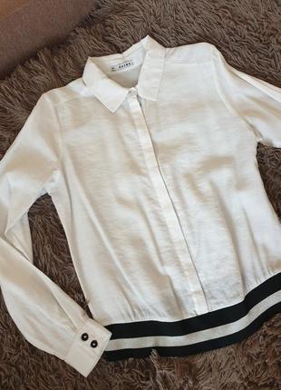 Стильна сорочка рубашка білого кольору з спортивним манджетом
