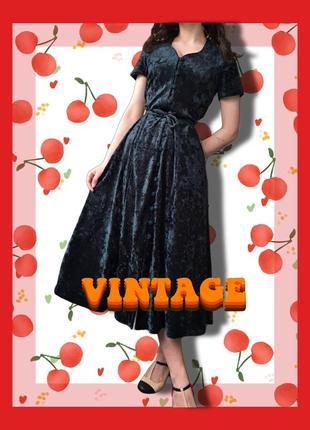 Винтажное платье миди , бархатное платье винтаж