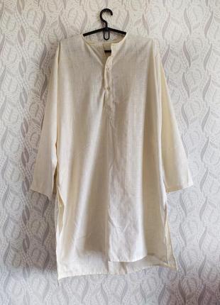 Hand made кремова сукня-сорочка оверсайз з кишенями натуральна тканина