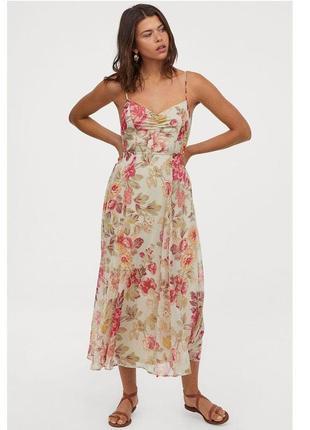 Фантастическое платье-сарафан  на подкладке шифоновое в цветы  большой размер