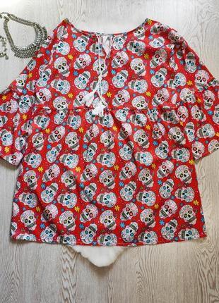 Красное платье с цветочным белым принтом черепа батал большого размера рисунком