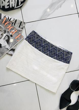Чудесная мини юбка с узором имитация бисера zara trafaluc этно стиль