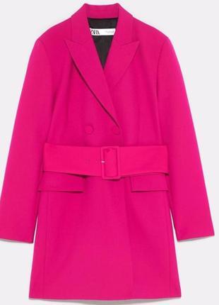 Новий.двобортний піджак плаття бренду zara belted blazer dress hot fuchsia