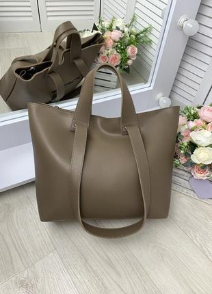 Женская сумка большая вместительная шопер  плечевые ручки мокко