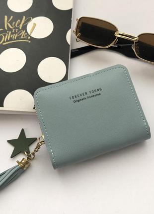 Мини кошелёк міні гаманець голубий в маленьку сумочку