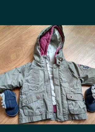 Куртка трансформер zara с толстовкой и пинетками на 9-12 месяцев