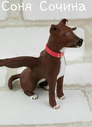 Питбуль пит-бультерьер собака пес портретная фигурка ручной работы