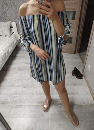 Лёгкий стильный сарафан платье в полоску
