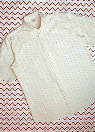 😉1+1=3 плотная светлая рубашка в полоску с коротким рукавом cotton trades, размер 46 - 48