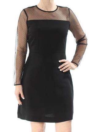 Черное вечернее платье по фигуре с прозрачной рукавами м