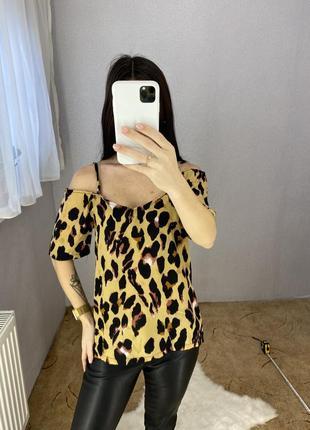Блуза блузка в леопардовый принт