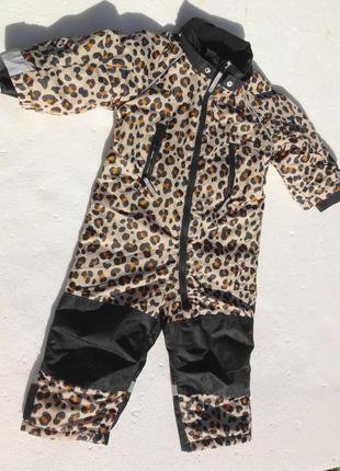 H&m. зимний комбинезон на флисе. 86 размер. леопардовый.