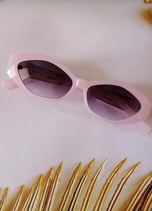 Эксклюзивные розовые брендовые солнцезащитные женские очки ромбы очень красивая модель!3 фото