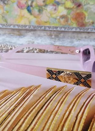 Эксклюзивные розовые брендовые солнцезащитные женские очки ромбы очень красивая модель!5 фото