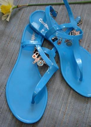 Веселые бирюзовые летние сандали,босоножки,вьетнамки силикон р. 38