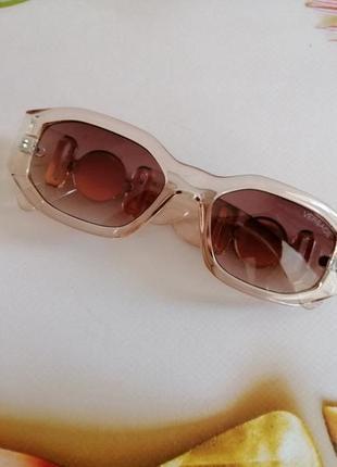 Эксклюзивные прозрачно розовые брендовые солнцезащитные женские очки шикарные!!!4 фото