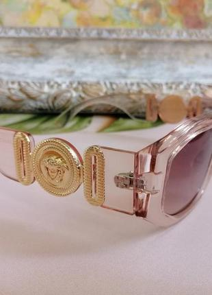 Эксклюзивные прозрачно розовые брендовые солнцезащитные женские очки шикарные!!!2 фото