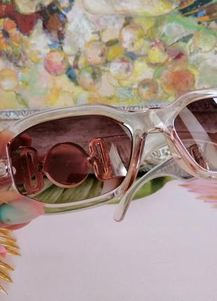 Эксклюзивные прозрачно розовые брендовые солнцезащитные женские очки шикарные!!!6 фото