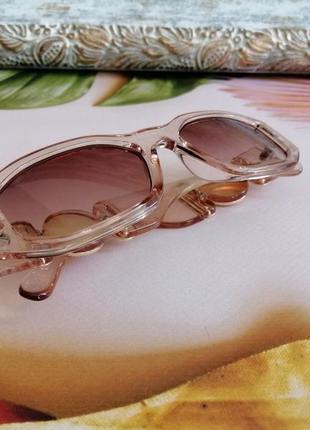 Эксклюзивные прозрачно розовые брендовые солнцезащитные женские очки шикарные!!!5 фото