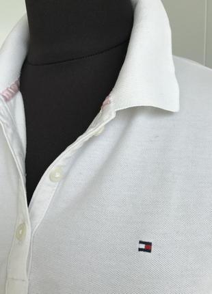 Классическая белая футболка поло tommy hommy hilfiger