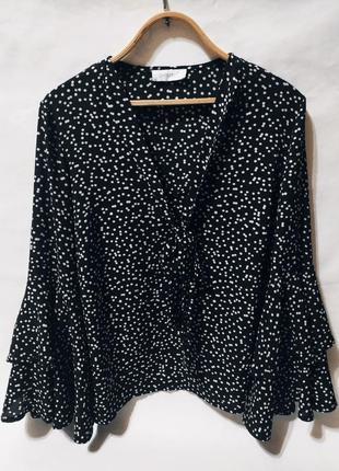 Блузка рубашка блуза чёрная в горошек с красивым рукавом воланом сорочка