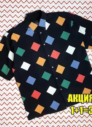 😉1+1=3 модная оригинальная черная рубашка сорочка в принт, размер 44 - 46