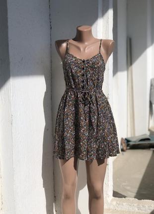 Сарафан платье на бретельках divided hm h&m, платье летнее в цветочный принт в цветочек