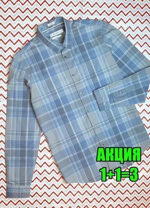 😉1+1=3 шикарная нежно-голубая приталенная мужская рубашка calvin klein, размер 44 - 46
