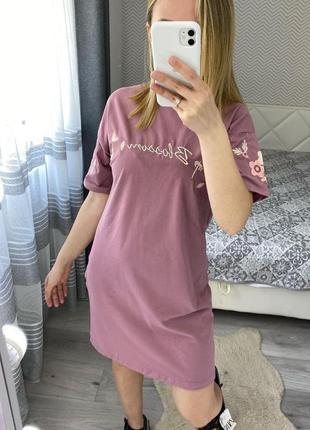 Платье футболка вишивка