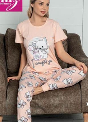 Шикарная женская пижама - домашний костюм футболка штаны, хлопок, р-ры м-xl, турция