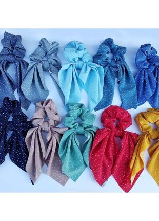 Резинка твилли повязка для волос чалма горох софт на голову на резинке летняя для моря
