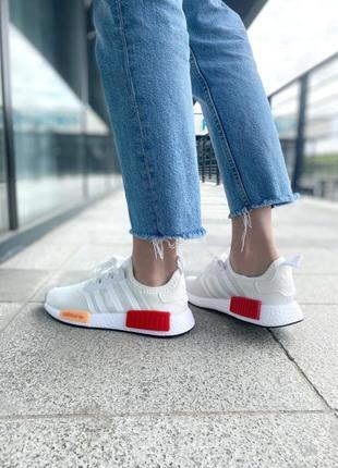 Женские кроссовки adidas nmd white/red