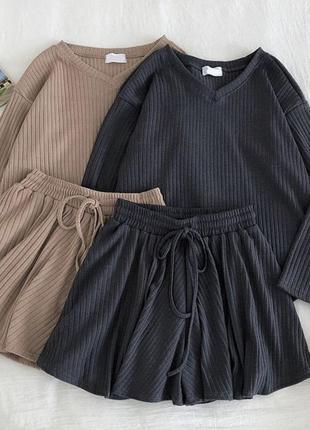 Новинка костюм рубчик турция свободные шорты и кофта, чёрный, бежевый