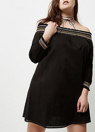 River island чёрное платье рубашка вышивкa с открытыми плечами трапеция большое оверсайз
