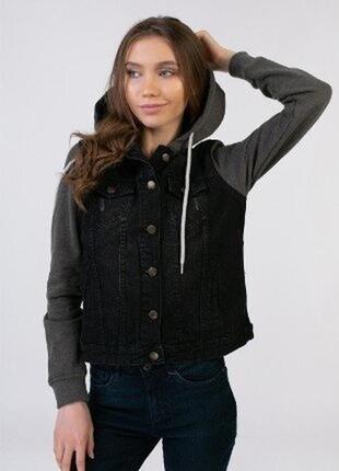 Джинсовая куртка s 36 euro esmara германия рукава на флисе с капюшоном
