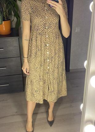 Ярусное миди платье в леопардовый принт asos