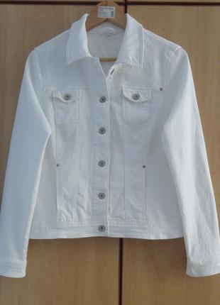 Супер белый брендовый джинсовый пиджак жакет хлопок