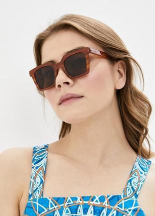 Коричневі квадратні очки, окуляри, сонцезахисні, солнцезащитные, леопардові, леопардовые, mango