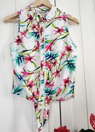 Яркая летняя блуза на завязках от george, размер l