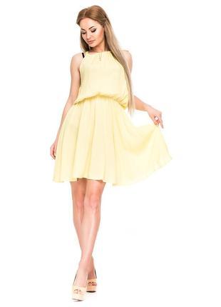 Летнее лимонное платье хлопок